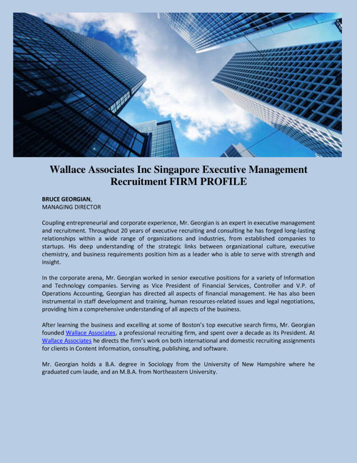 Wallace Associates Inc Singapore Executive Management Recruitmen
