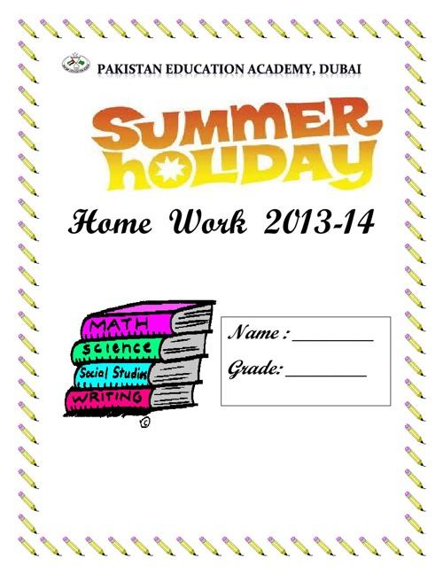 Holiday Homework Booklet Grade VIII