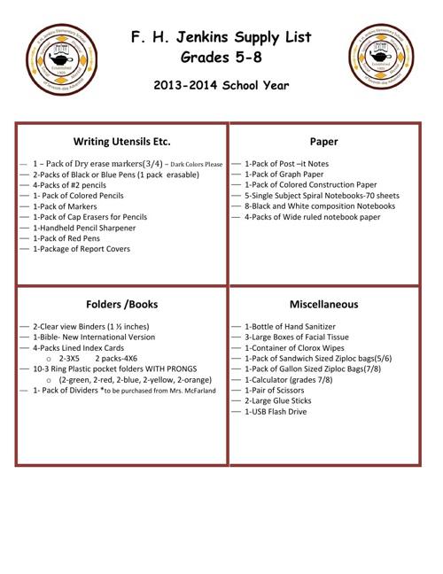School SUpply List 2013-14
