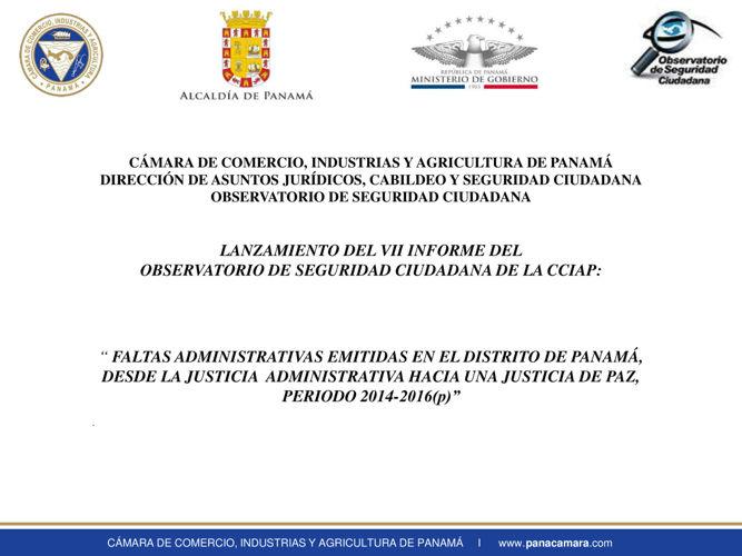 Informe Faltas Administrativas en el distrito de Panamá