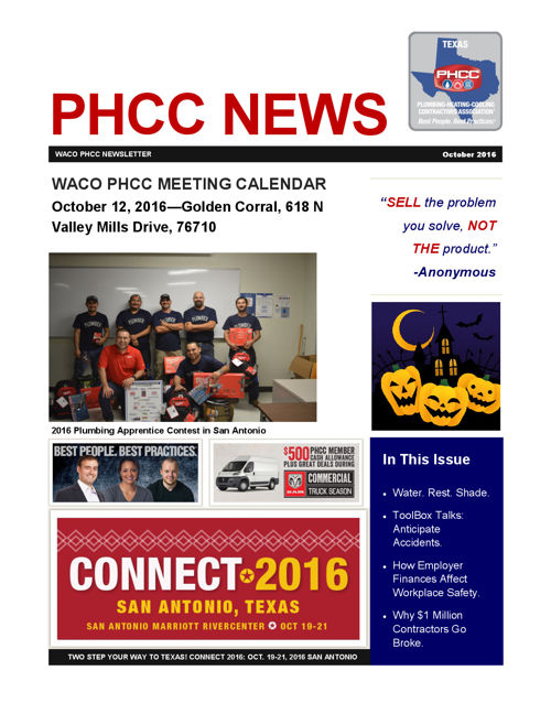 WACO PHCC OCTOBER 2016 NEWSLETTER