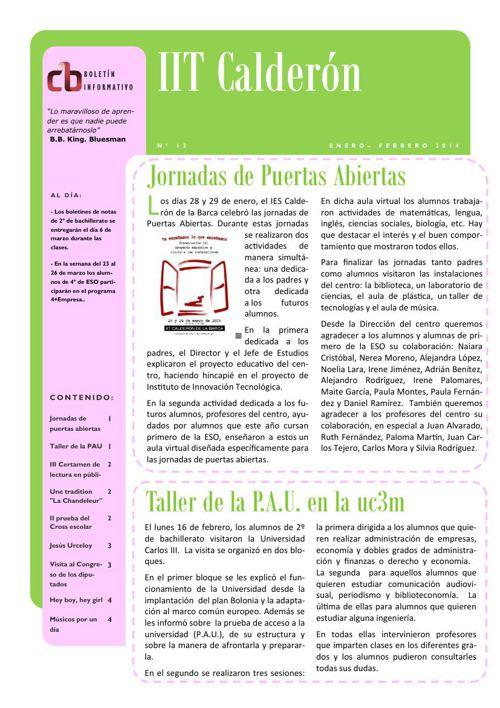 Boletín de enero-febrero del IES Calderón de la Barca de Pinto