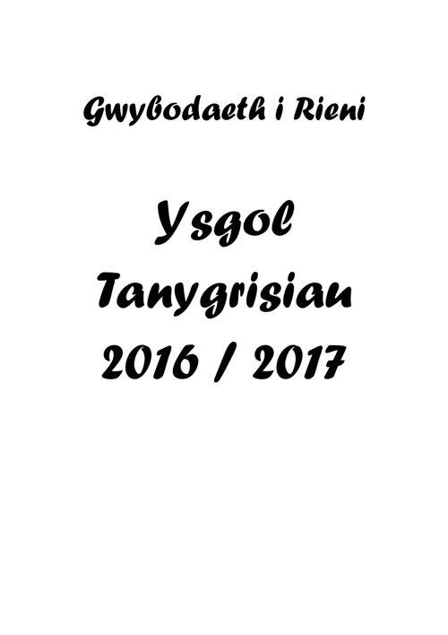 Ysgol Tanygrisiau - Llawlyfr 2016-2017