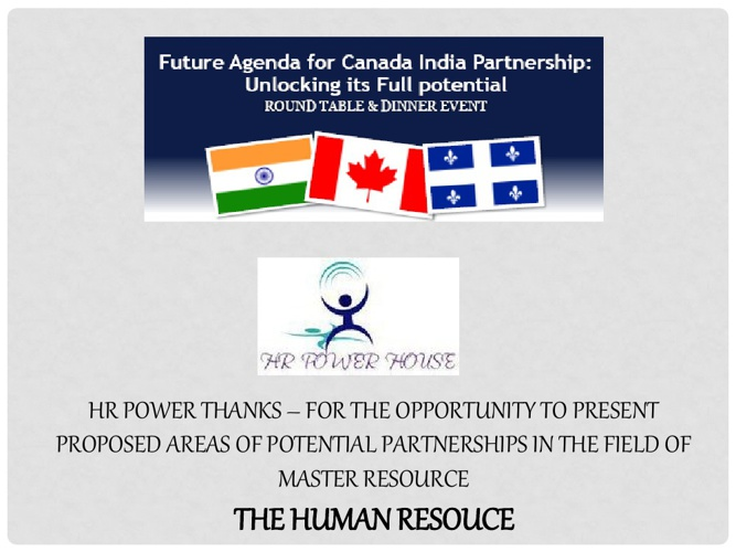 HR Power House - Canada India Partnership - Proposal