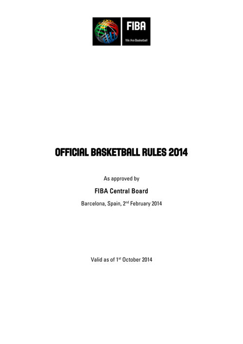 Official Basketball Rules 2014