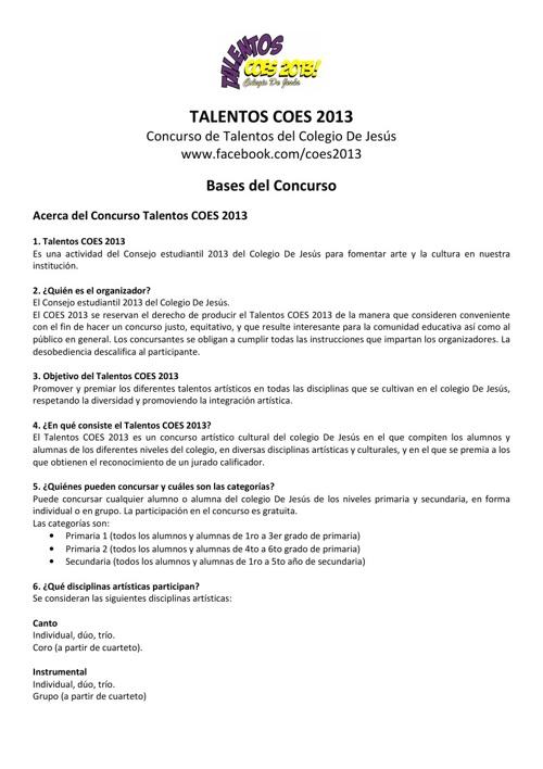 Bases Concurso Talentos COES 2013