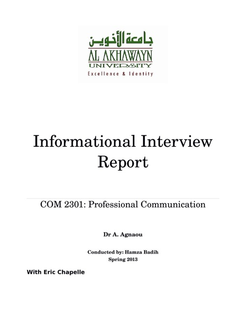 Informational Interview Report by Hamza Badih