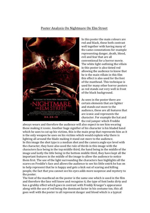 Poster Analysis On Nightmare On Elm Street