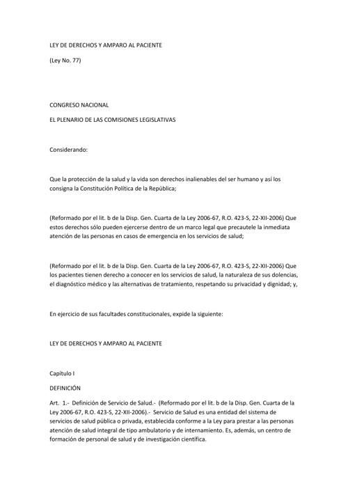 LEY DE DERECHOS Y AMPARO AL PACIENTE