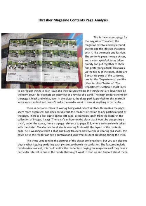 Thrasher Magazine Contents Page Analysis