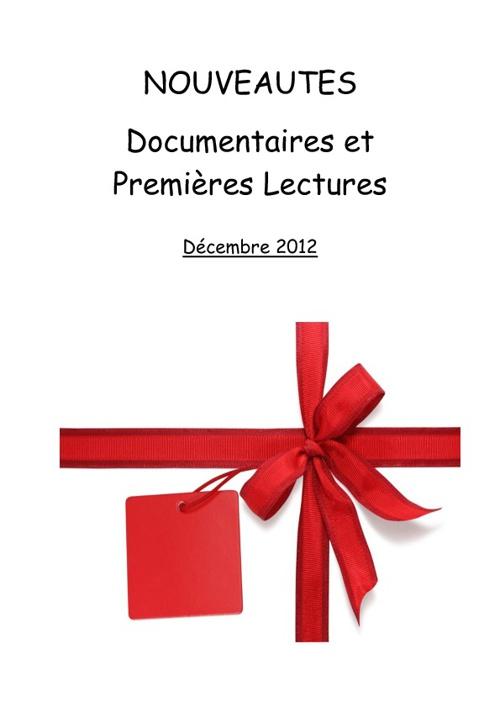 Nouveautés Premières lectures et doc décembre 2012