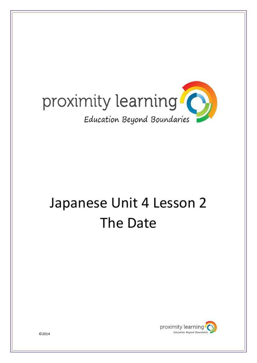 JPN Unit 4 Lesson 2: The Date