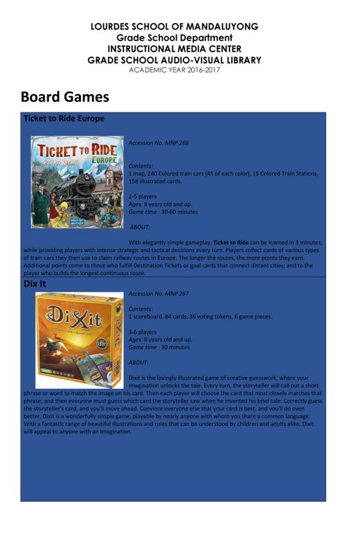 BOARD GAMES (Grade School Audio-Visual Library)
