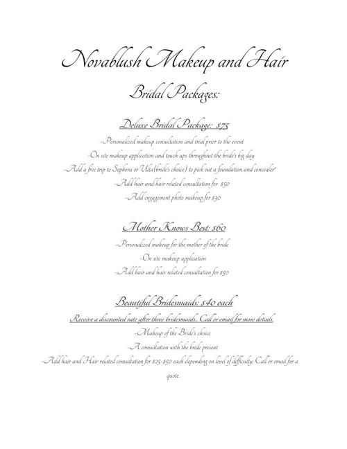 Novablush Bridal Packages