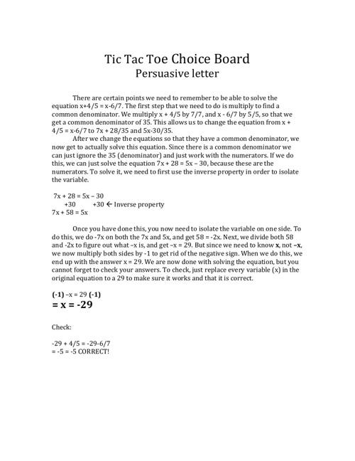 Tic Tac Toe Choice Board Persuasive Letter