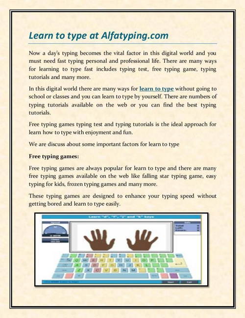 Learn to type at Alfatyping.com