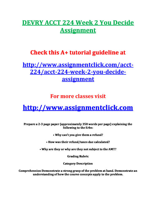 DEVRY ACCT 224 Week 2 You Decide Assignment