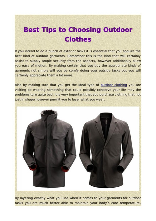 Best Tips to Choosing Outdoor Clothes