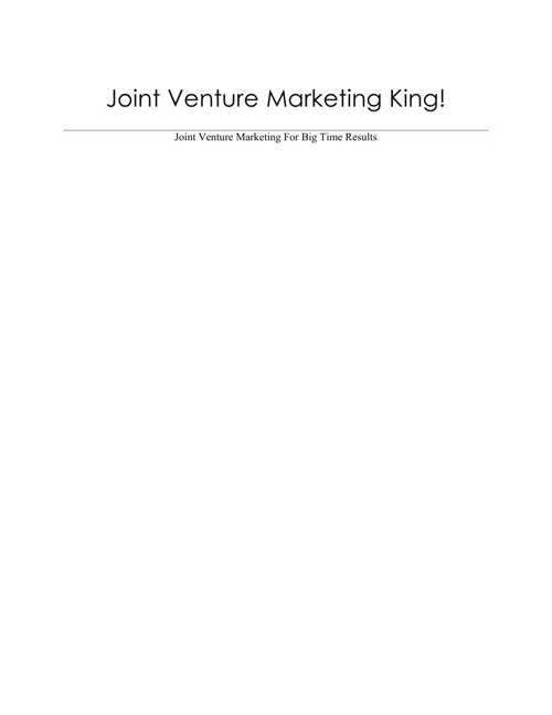 Joint Venture Marketing King