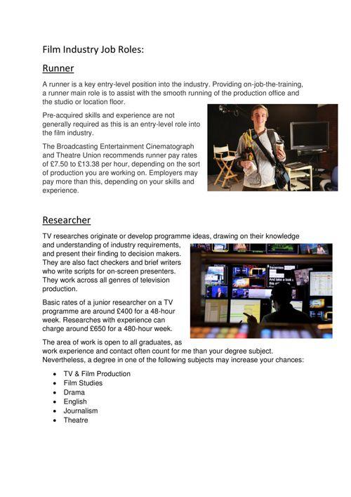 Film Industry Job Roles