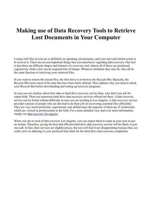 Making use of Data Recovery Tools to Retrieve Lost Documents in
