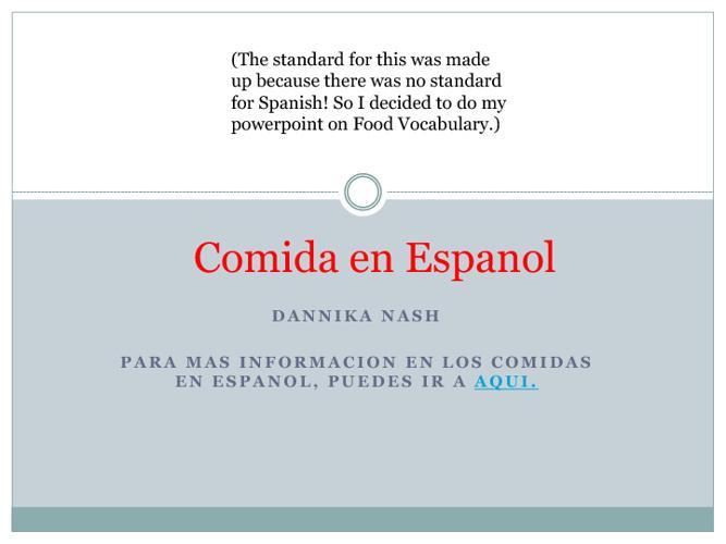 Comida en Espanol