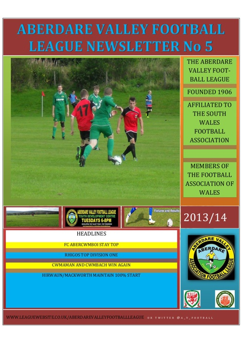 ABERDARE VALLEY FOOTBALL LEAGUE NEWSLETTER ISSUE 5