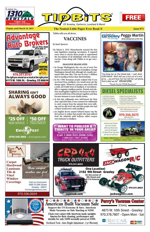 Tidbits of Greeley/Centerra/Loveland, Issue 973