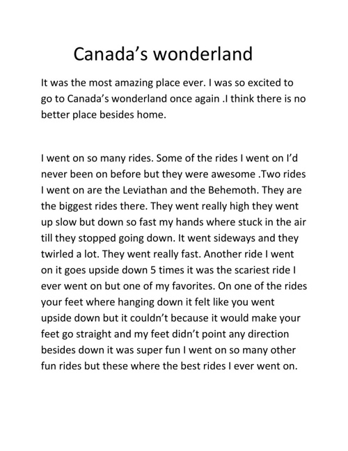 My trip to Canada's Wonderland!