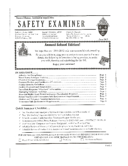 Diocese of Allentown-  Safety Examiner June 2012