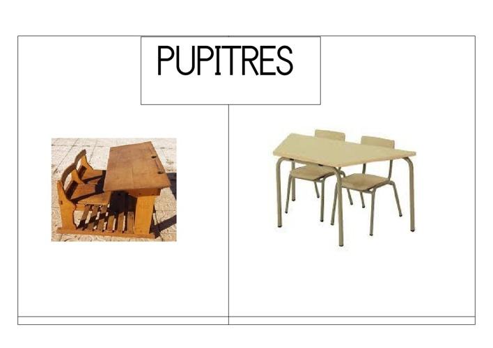 Objetos de las escuelas antiguas y nuevas