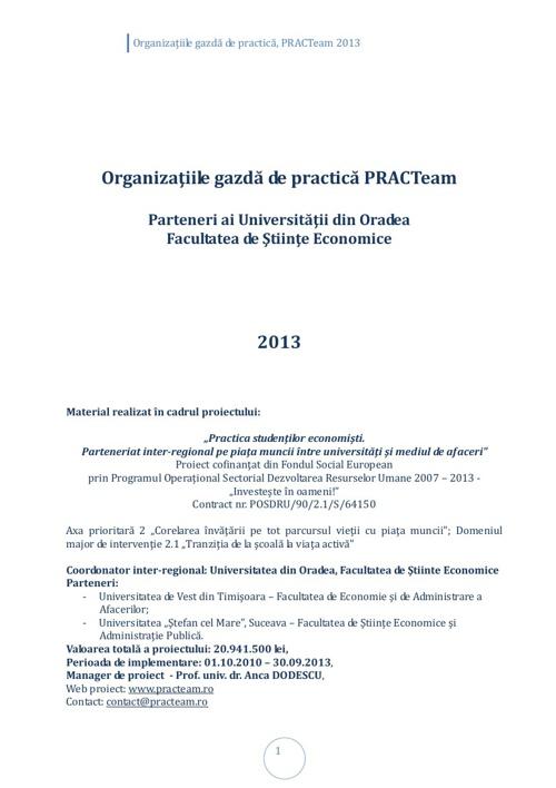 PRACTeam - Volum prezentare Organizaţii gazdă Oradea, 2013
