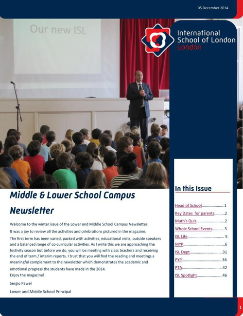 Middle & Lower School Campus Newsletter