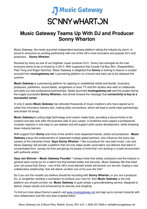 Music Gateway Teams Up With DJ and Producer Sonny Wharton
