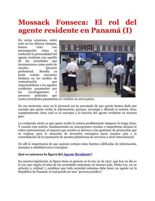 Mossack Fonseca: El rol del agente residente en Panamá (I)