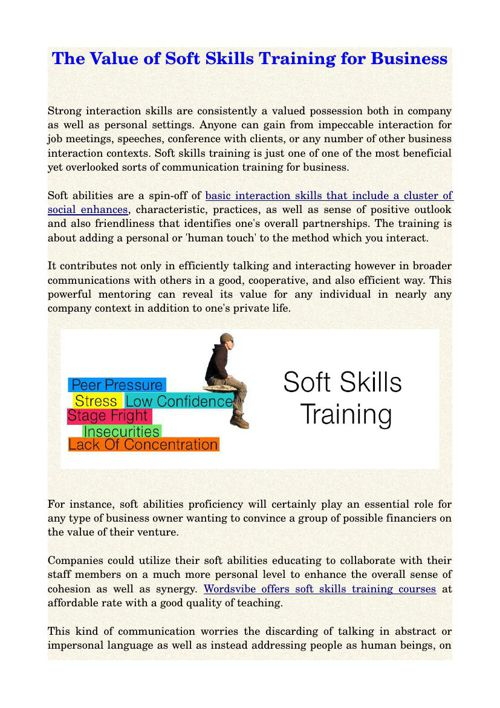 The Value of Soft Skills Training for Business