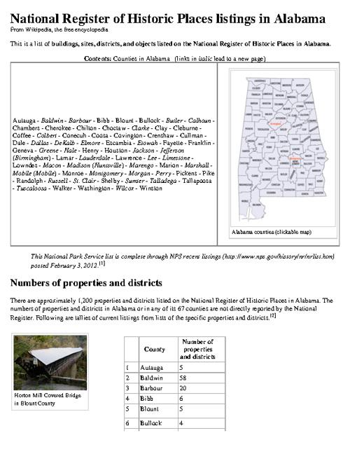National Historic Register for Alabama