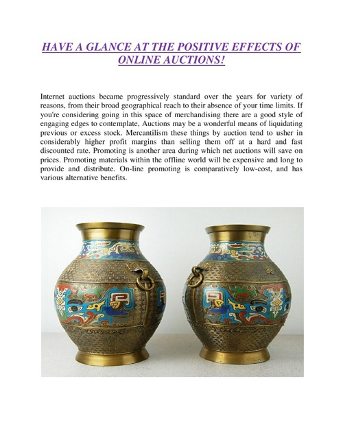 HAVE A GLANCE AT THE POSITIVE EFFECTS OF ONLINE AUCTIONS
