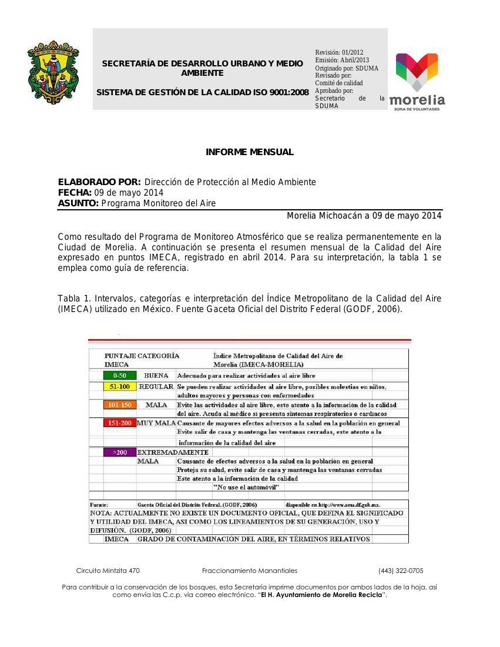 Informe mensual Abril 2014