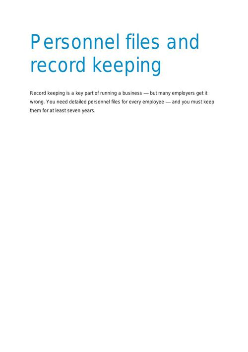 Personnel Files and Record Keeping