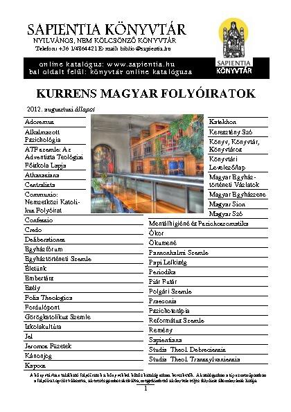 Sapientia Könyvtár folyóiratok