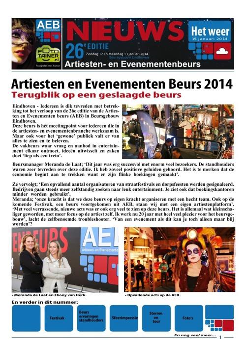 AEB Nieuws van 15 januari 2014