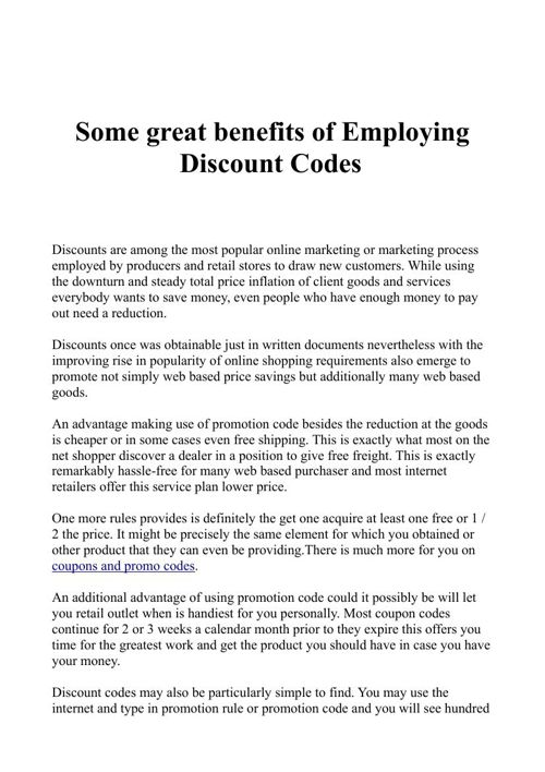 Some great benefits of Employing Discount Codes