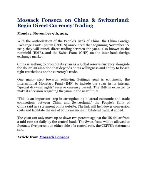 Mossack Fonseca on China & Switzerland: Begin Direct Currency Tr