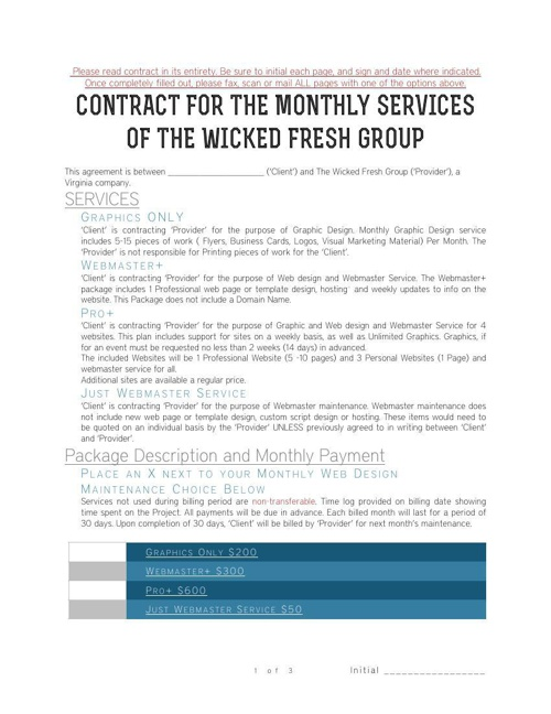 The Wicked Fresh Group Contract-signed