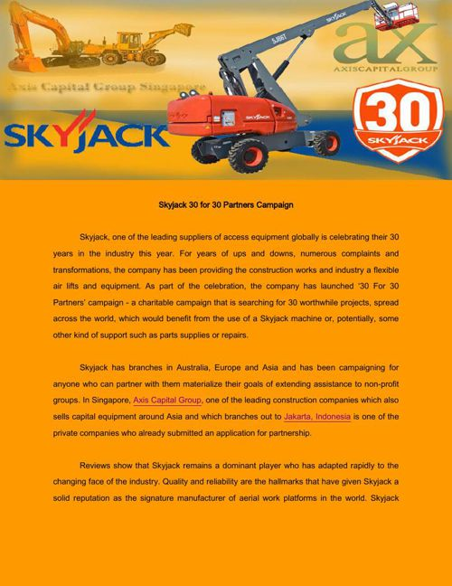 Skyjack to donate machines for 30 global projects
