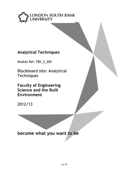 Analytical Techniques Module Guide 2012-13