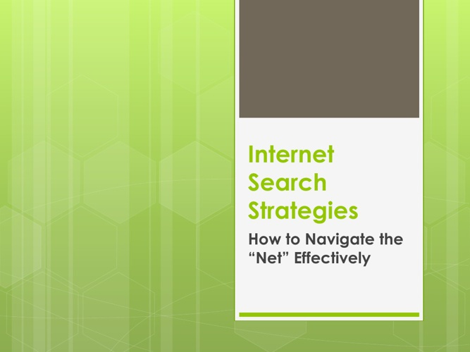 Internet Search Strategies