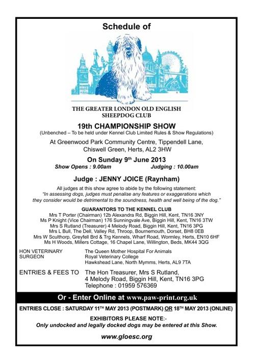 Champ Show Schedule 2013