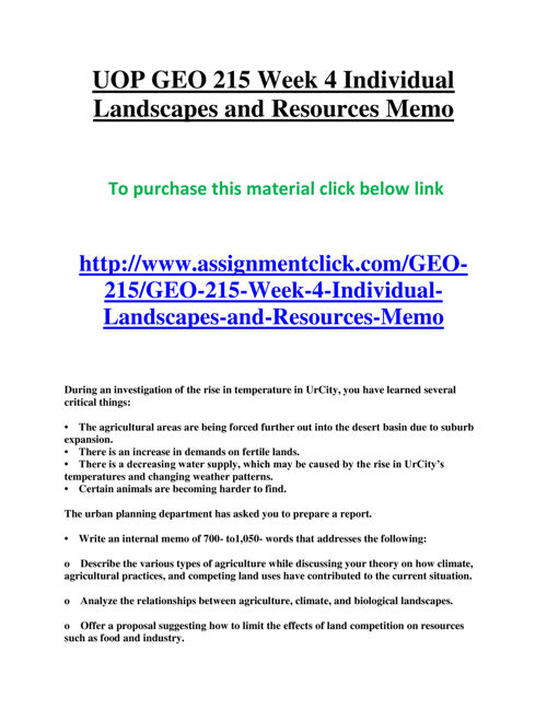 UOP GEO 215 Week 4 Individual Landscapes and Resources Memo